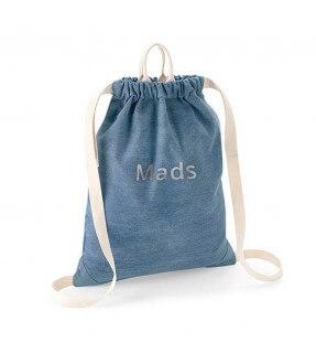 Denim gymnastikpose med navn fra BagBase Id502