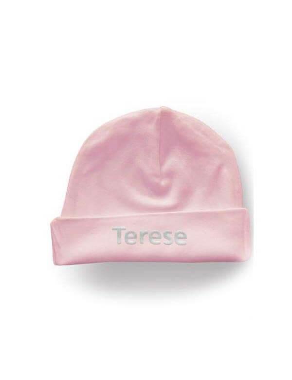 Baby hue med navn i økologisk bomuld fra Link kids wear Id2150
