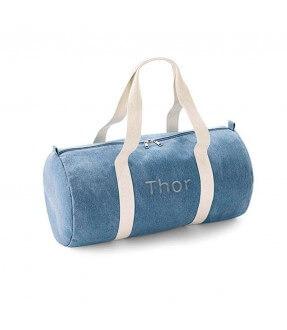 Rund denim sportstaske med navn fra BagBase Id512